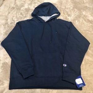 Men's Champion Dark Blue Fleece Hoodie Sweatshirt